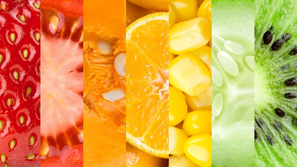 Wellspect Lofric Vivid collage of colourful close-up of different fruit